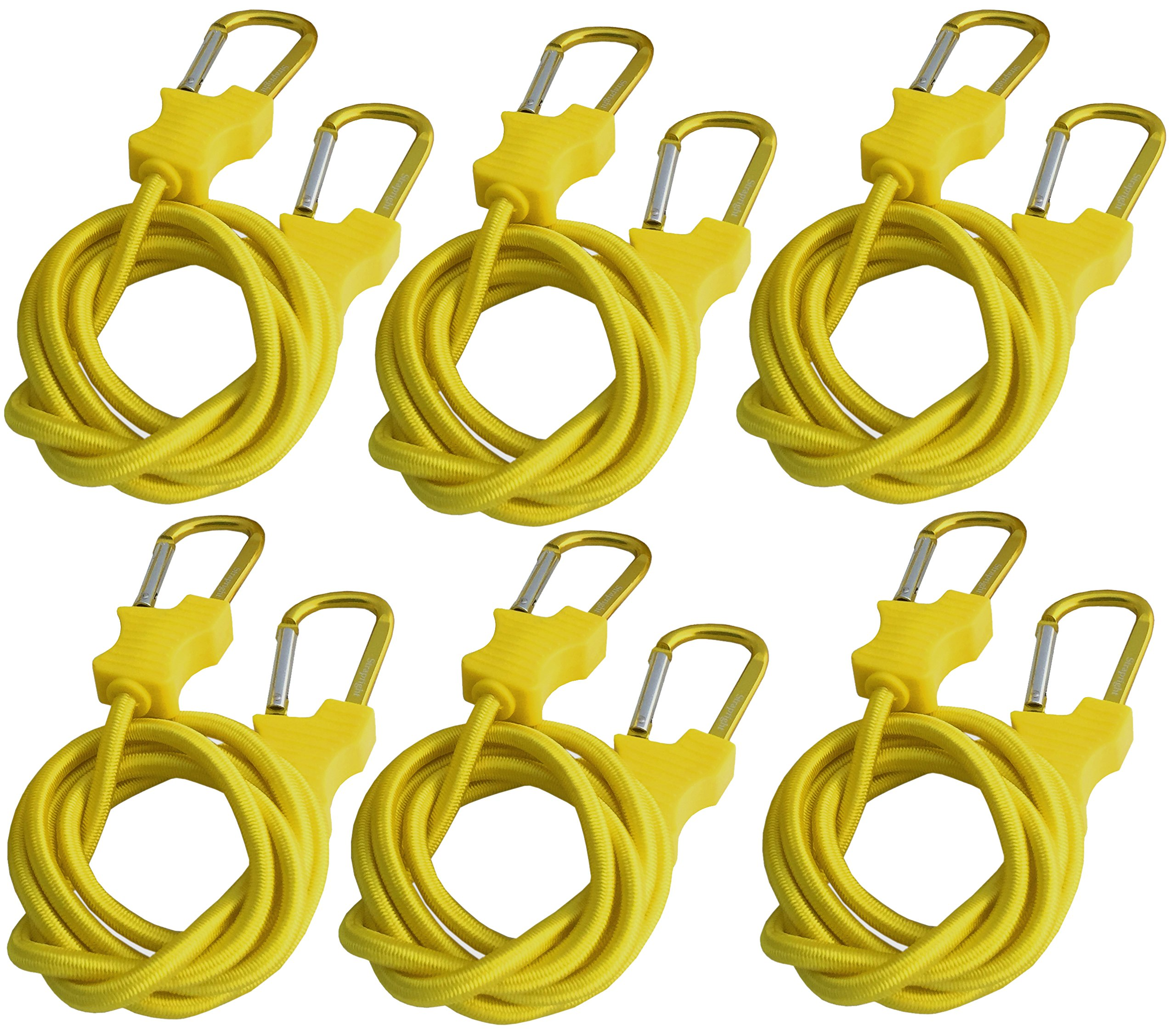 Bungee Cord with Carabiners Super Long 60''   6 Pack UV Treated with Superior Latex Core which Lasts Longer than Flat Bungees   Strong Wide Mouth Hook Locks onto Anchor Points with Ease (Yellow)