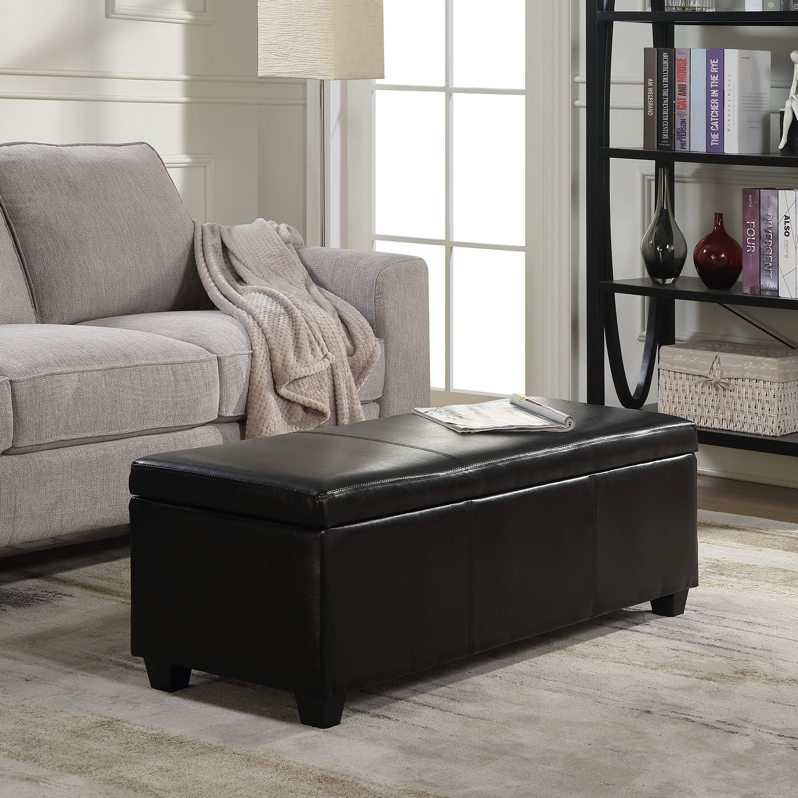 Belleze 48'' inch Long Rectangular Upholstered Storage Elegant Ottoman Bench, Black by Belleze