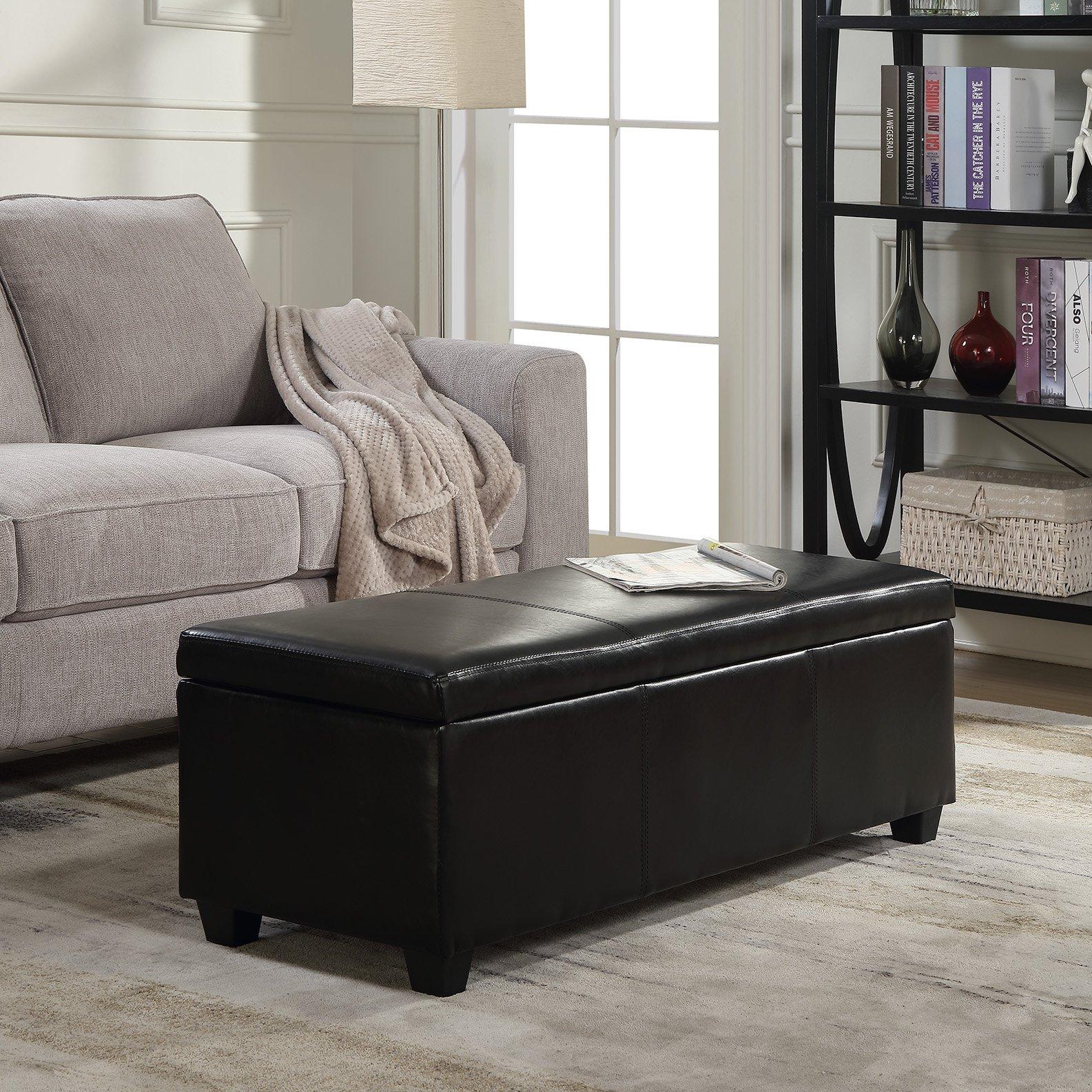 Belleze 48'' inch Long Rectangular Upholstered Storage Elegant Ottoman Bench, Black by Belleze