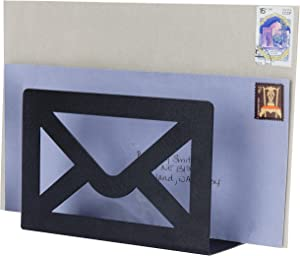 MyGift Modern Cutout Envelope-Design Black Metal Desktop Letter Holder