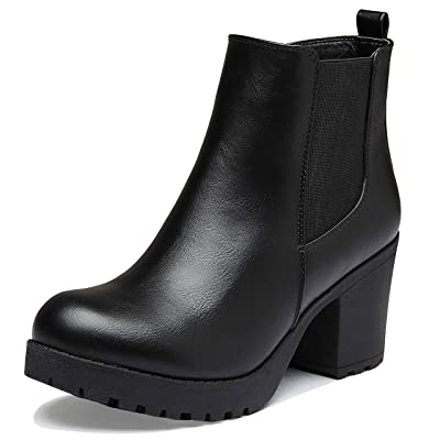 DailyShoes Women's Elastic Panel Slip On Chunky Heel Ankle Booties Chelsea Boot | Ankle & Bootie