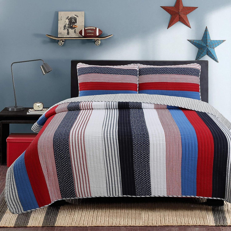 Cozy Line Home Fashions Derek Blue Red Navy White Star Striped 100% Cotton Quilt Bedding Set, Reversible Coverlet, Bedspread Set (Axel Stripe, Queen -3 Piece)