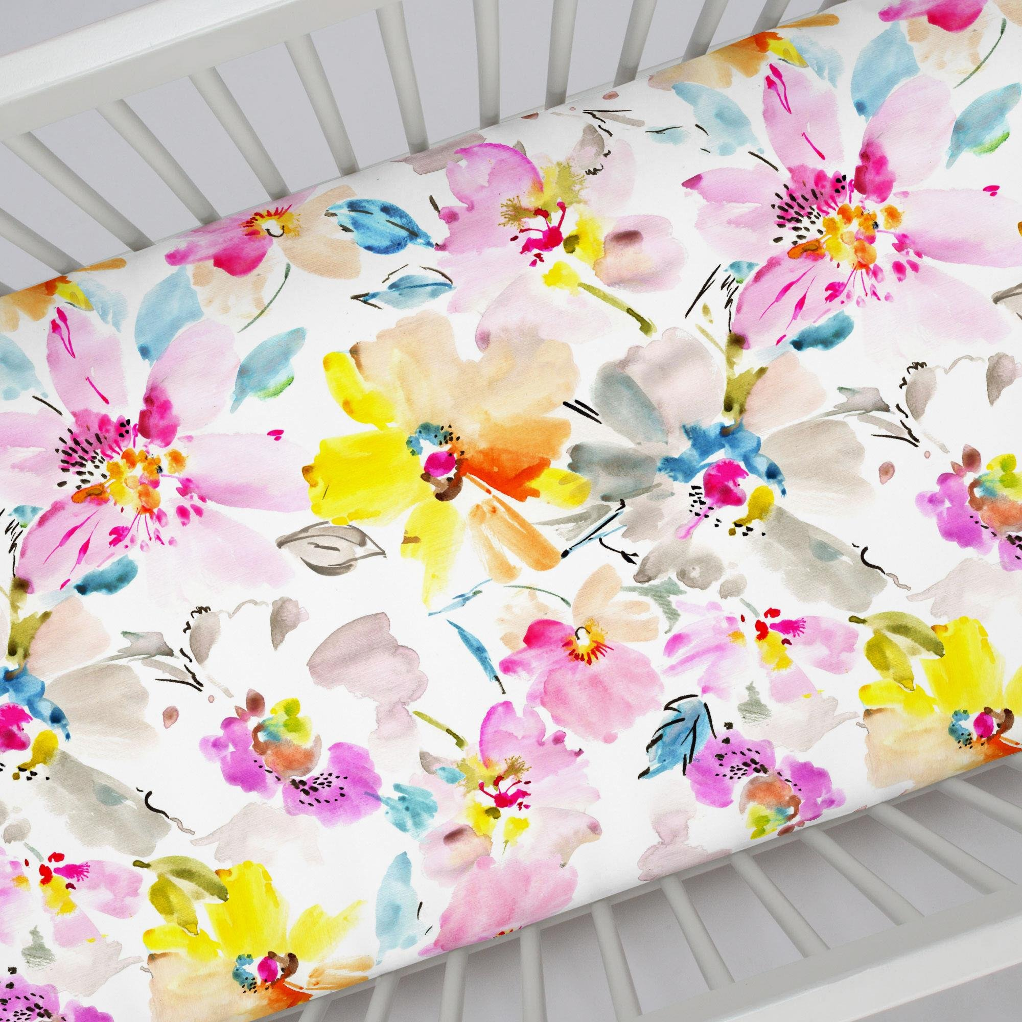 497f37f5d Carousel Designs Watercolor Floral Crib Sheet - Organic 100% Cotton Fitted  Crib Sheet - Made in The USA