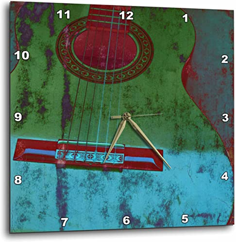 3dRose Green and Aqua Guitar Musical Instruments – Wall Clock, 15 by 15-Inch DPP_29324_3