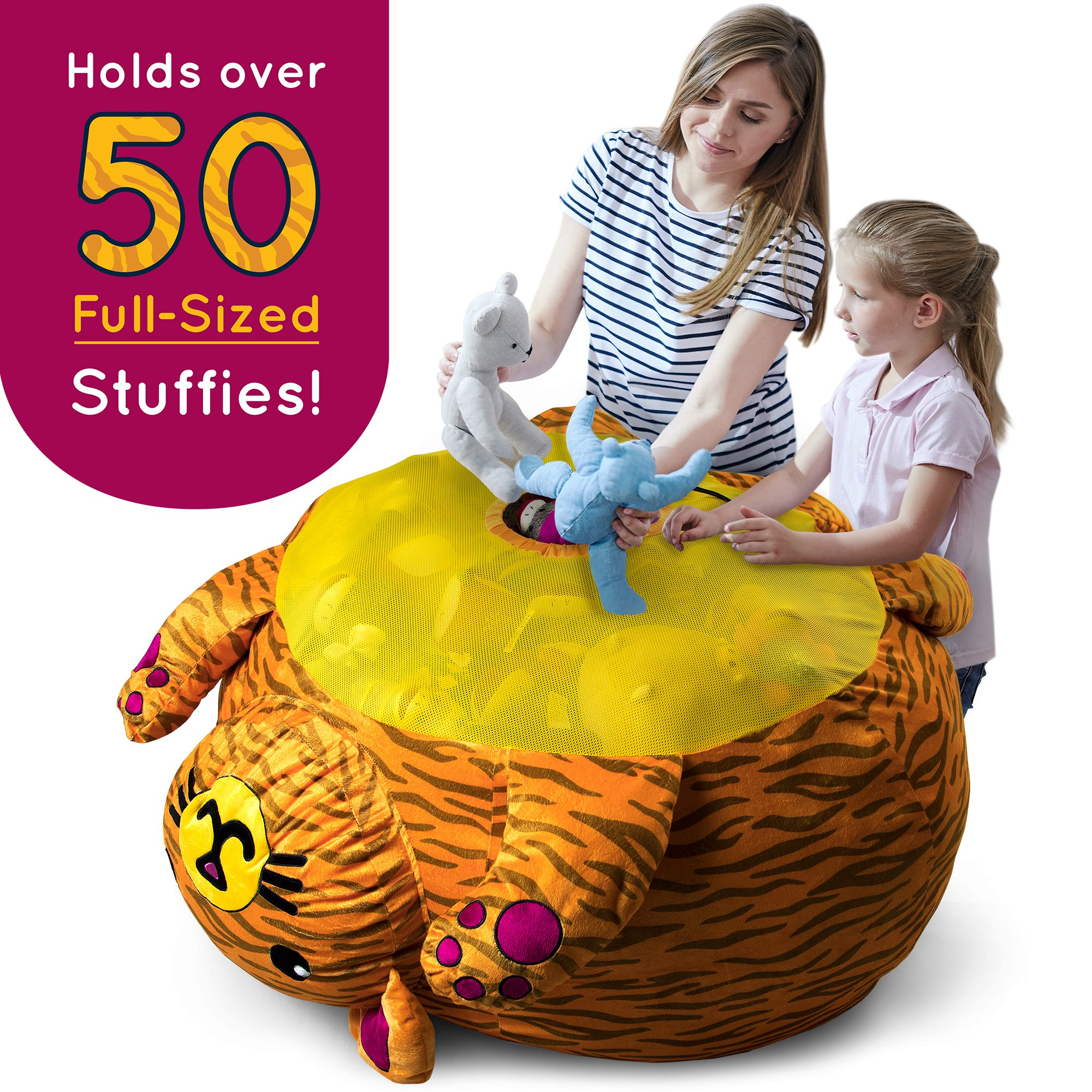 Stuffums Bean Bag Chair and Stuffed Animal Storage - 3-foot Orange Tabby Cat Pouf with Breathable Mesh Bottom, Holds Over 50 Plushies! Great for Bedrooms, Playrooms, & Dorms by Stuffums