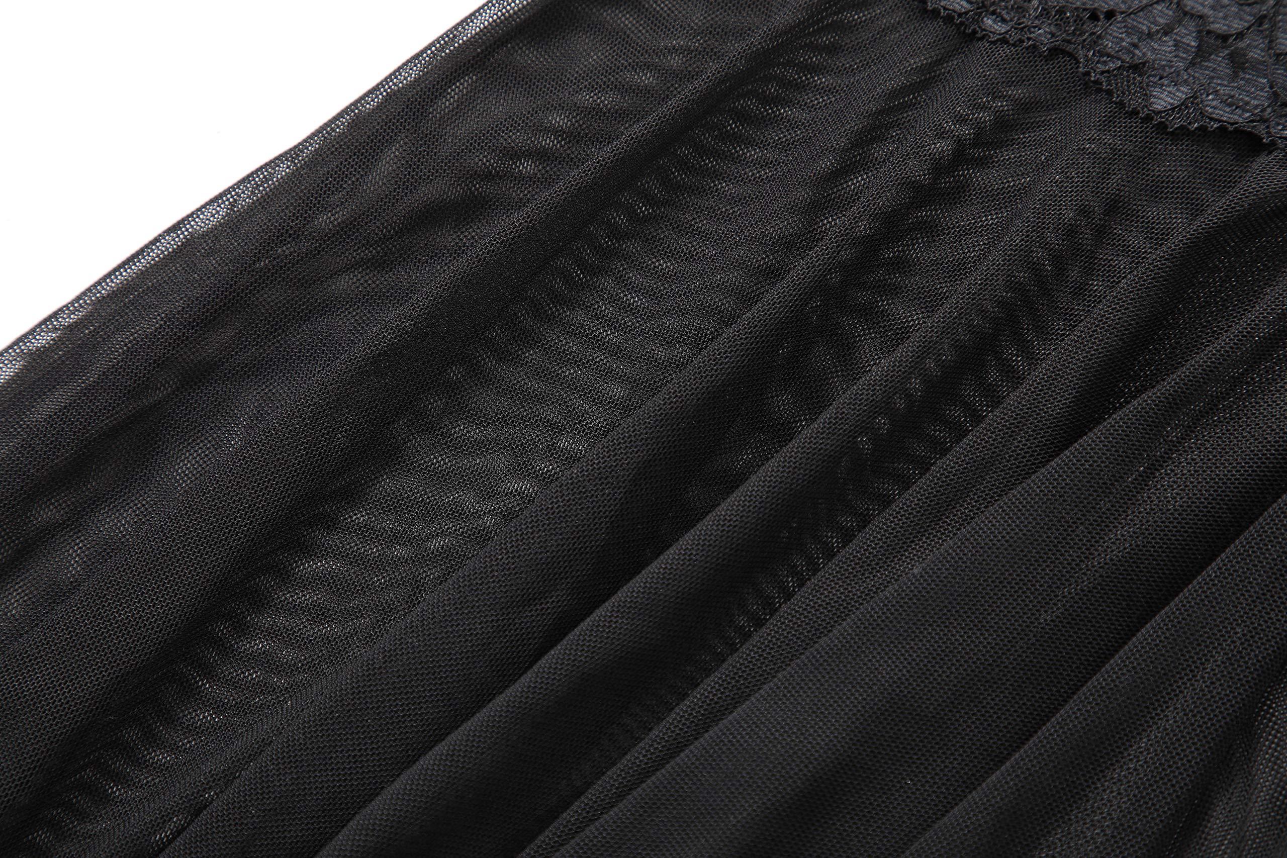 Marysay Women Babydoll Lingerie Sheer Lace Chemise Halter Backless Sleepwear (Black XX-Large)