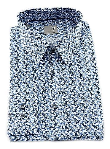 Seidensticker Herren Langarm Hemd Schwarze Rose Slim Fit Modern Kent Print Blau/Weiß Strukturiert mit Piping 243180.17 (42, Blau)