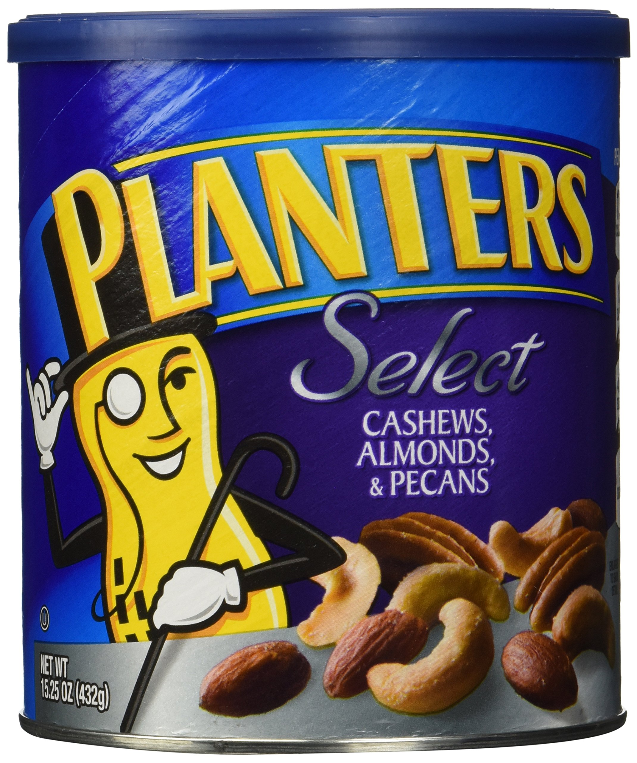 PLANTERS Select Cashews, Almonds & Pecans, 15.25 oz. Resealable Container   Salted Nuts   Kosher