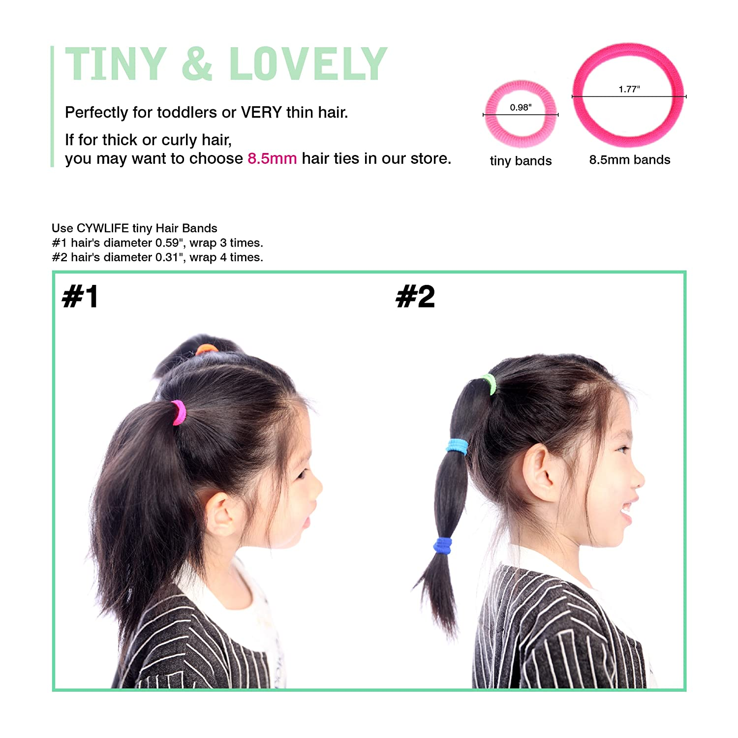Amazon.com  CYWLIFE Tiny Hair Ties Bands for Girls Women Children VERY Thin    Fine Hair 27cd2a454d9