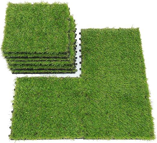 SUMC Césped baldosas Conjunto de 9 Piezas Césped Artificial Clic baldosas Hierba Artificial para decoración de Interior/Exterior, 12×12 Inch: Amazon.es: Jardín