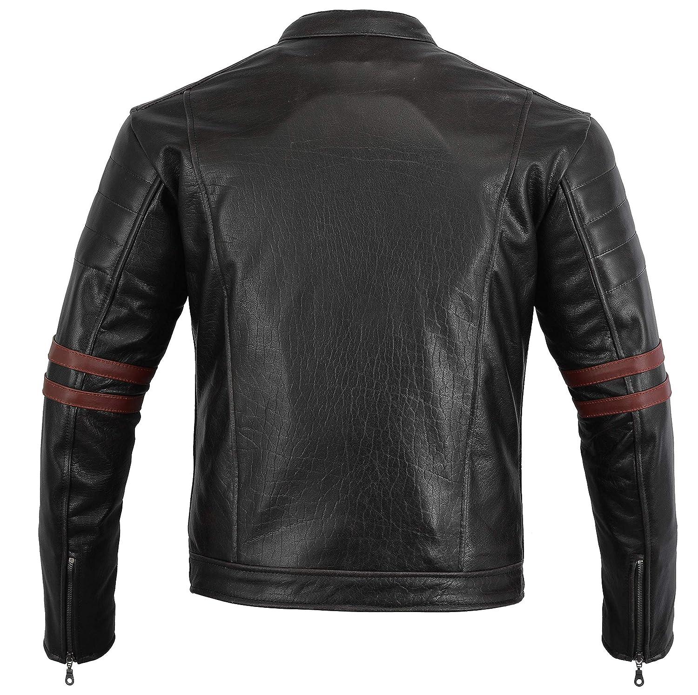 OxBlood UK 48 EU 58 4XL Bikers Gear The Rocker Motorcycle Black Leather Cafe Racer Jacket CE1621-1 PU Armour