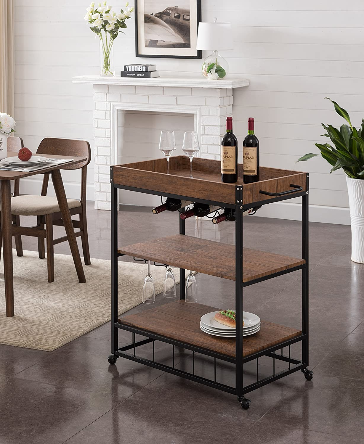 Heavy-Duty Vintage Brown Black Metal Industrial Style 3-tier Serving Wine Tea Dining Kitchen Cart with Bottle Holder and Tray Top