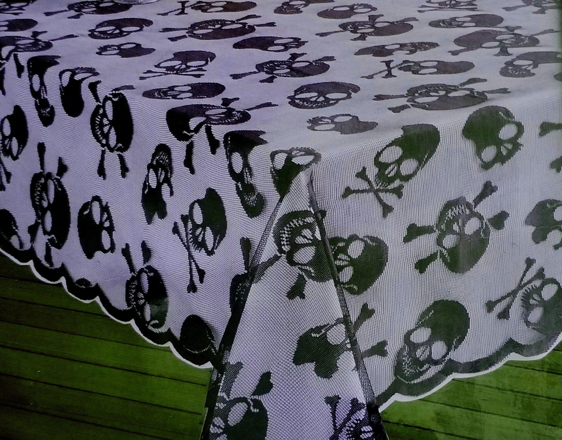 Skull & Bones Black Lace Halloween Tablecover, 60-by-84 Inch Oblong Rectangular