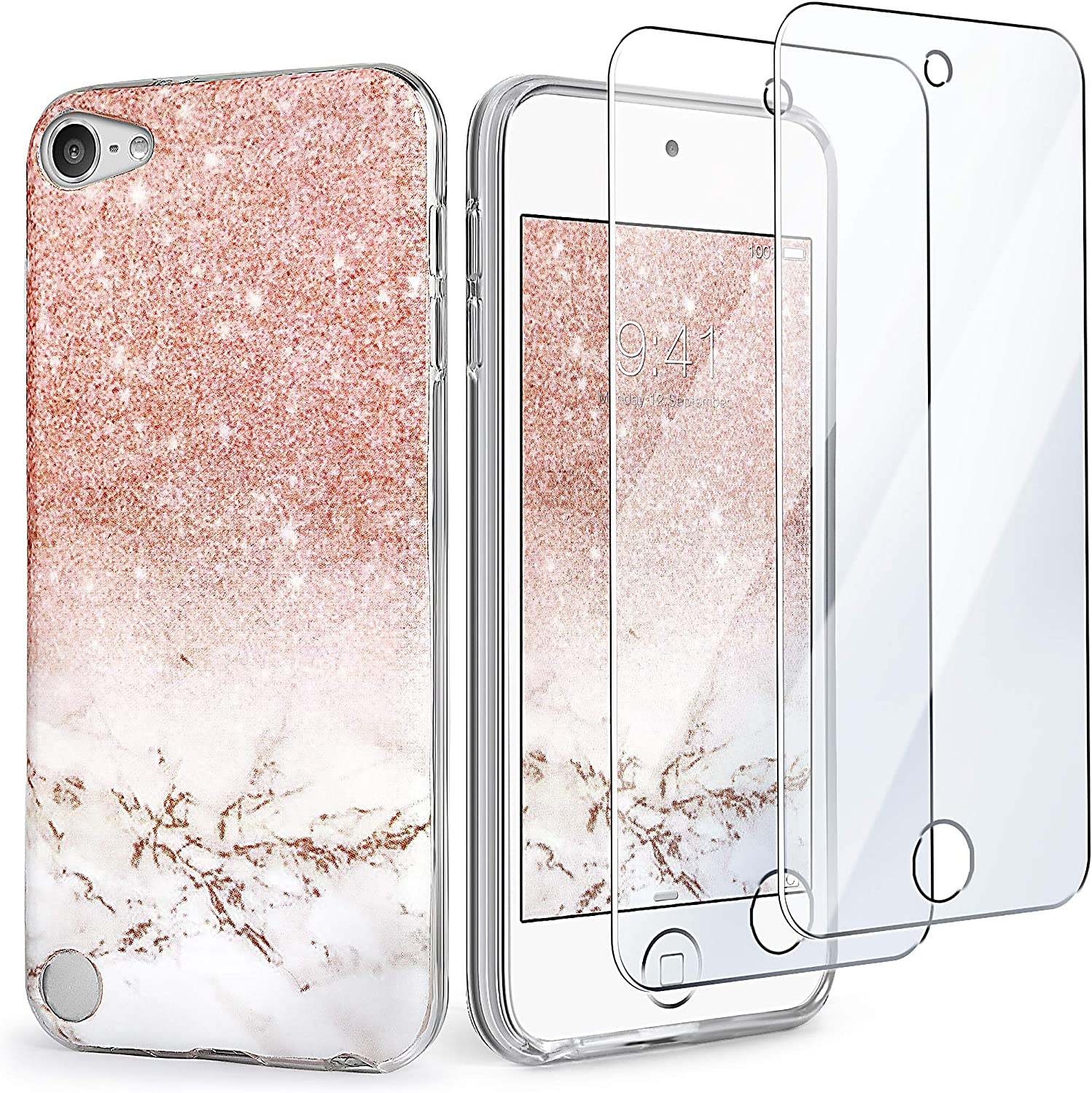 iPod Touch 7th Generation Case with 2 Screen Protectors, IDWELL iPod 6 Case, iPod 5 Case, Slim FIT Anti-Scratch Flexible Soft TPU Bumper Hybrid Shockproof Protective Cover, Glitter Rose Gold Marble