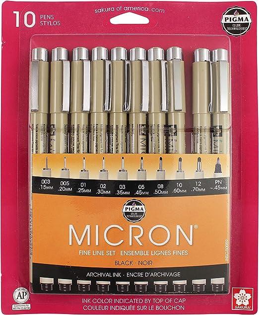 SAKURA Pigma Micron Black Ink Multi-tip Set, 10 Pack
