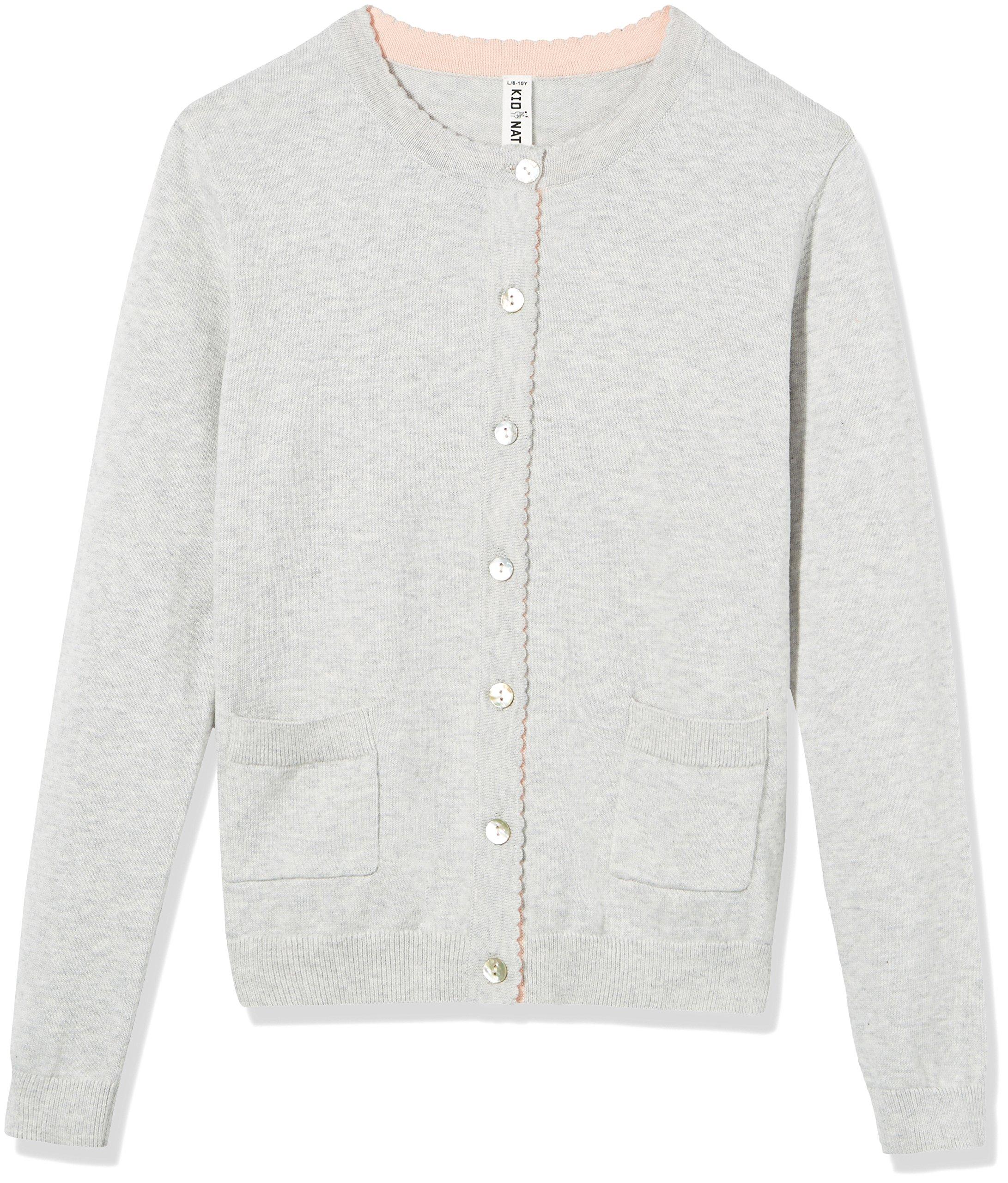 Kid Nation Girls' Long Sleeve Cardigan Sweater Classic with Pocket XS Light Grey