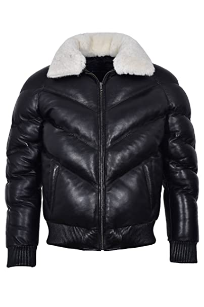 Smart Range Ace Mens Puffer Real Leather Jacket Black With White Real Sheep Hair On Collar Winter Warm at Amazon Mens Clothing store: