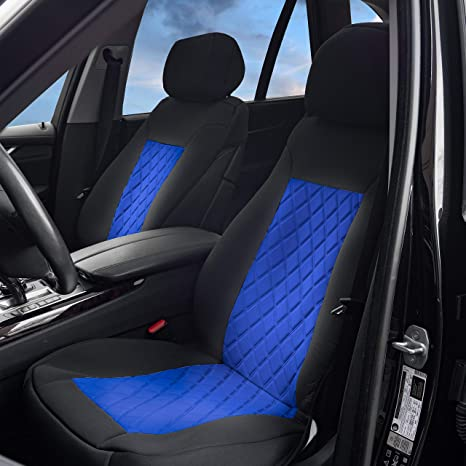 BDK Universal Fit 11-piece Deluxe Extra Foam Cushion Car Seat Covers Blue