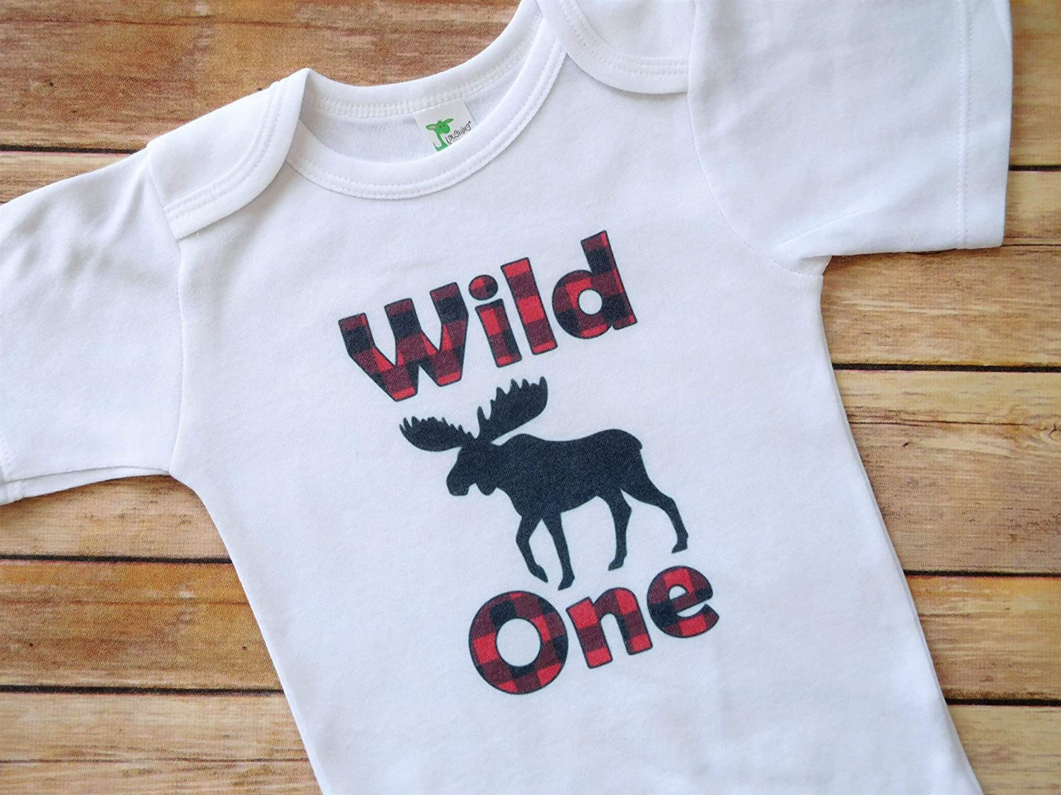 Wild One 1st Birthday Party Bodysuit - 12 to 18 Months - Lumberjack Theme Party Outfit - Red and Black Plaid Moose