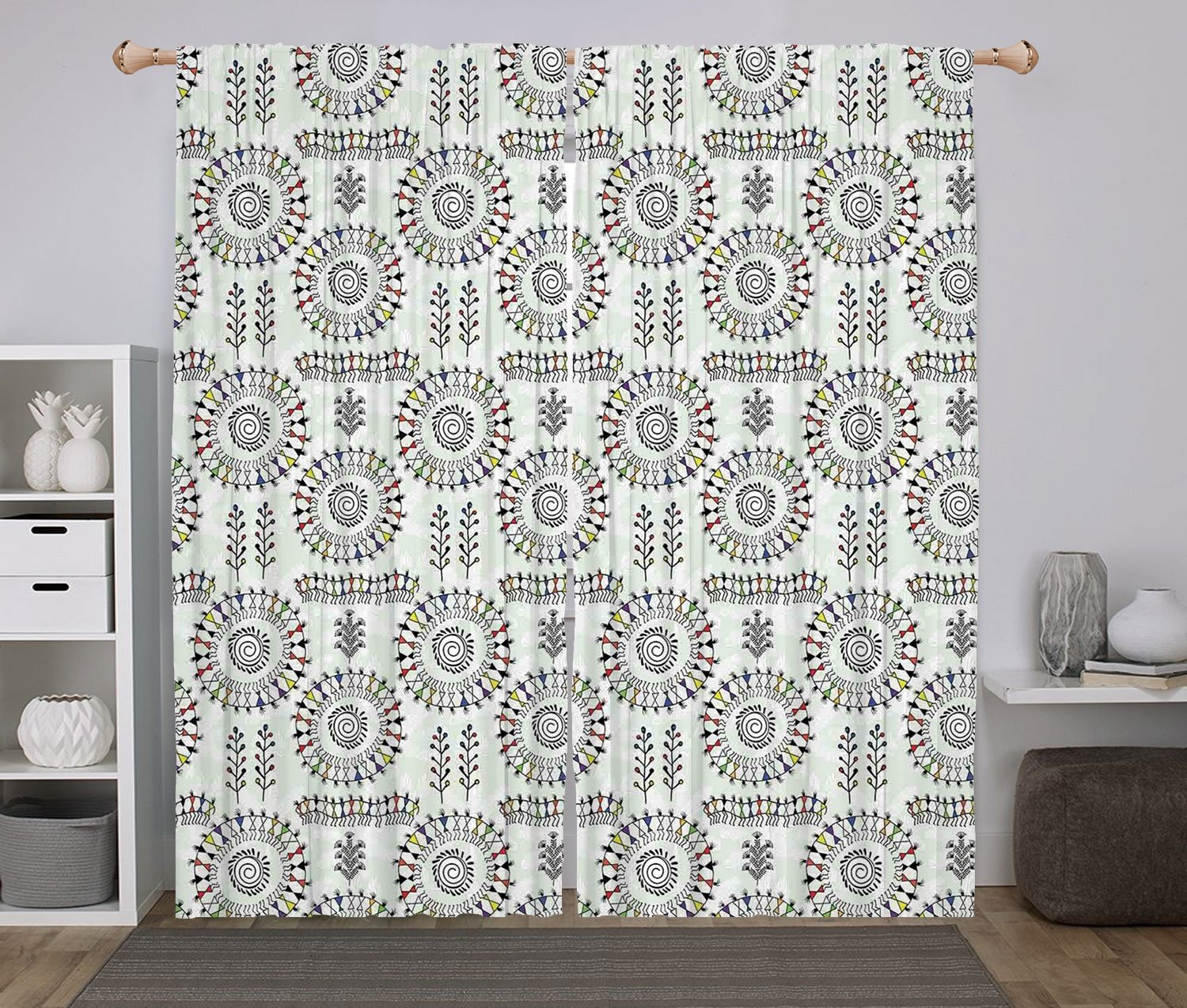 2 Panel Set Window Drapes Kitchen Curtains,Traditional House Decor Old African Art Tribal with Ancient Tribal Sacred Circular Dance Folk Figure Image Multi,for Bedroom Living Room Dorm Kitchen Cafe