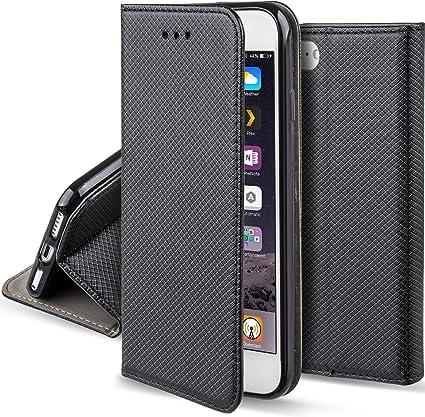 Moozy Cover per iPhone 6s, iPhone 6, Nero - Custodia a Libro Flip Smart Magnetica con Appoggio e Porta Carte