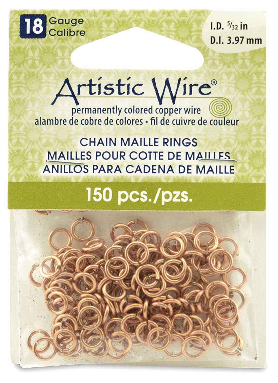 Artistic Wire Beadalon 5/23-inch 150 Piece 18-Gauge Natural Chain Maille Rings A314-18-10-06
