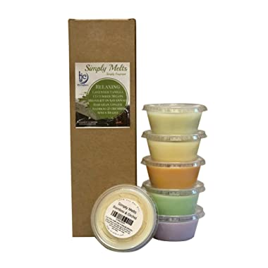 Scented Wax Melts Variety Pack - Hand Poured Natural Soy Wax Melt Cups, 6 Resealable Cups (2.2 Ounces Each, 13.2 Ounces Total), Up to 40 Hours of Scent Throw Per Quarter Cup (Relaxing)