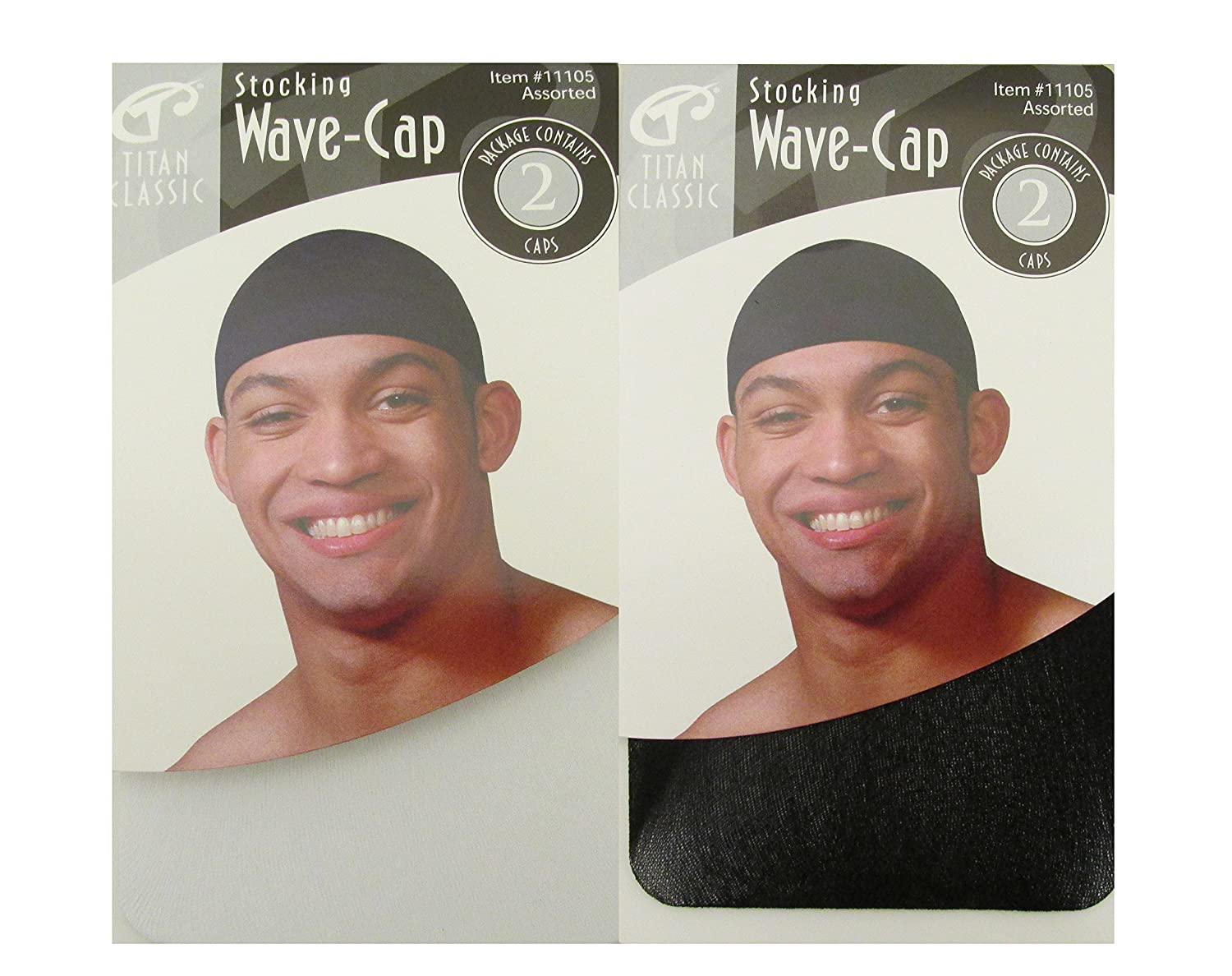 e2966f05 Titan Classic Stocking Wave Cap #11105 Black - 4 caps, Ultra stretch, fits  all sizes, one size, fits most, keeps on...
