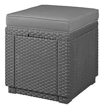 ALLIBERT Tabouret avec coussin, cube sans coussin en plastique effet ...