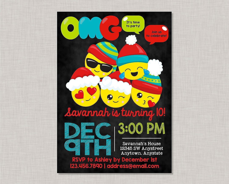 Amazon Olga212Patrick Emoji Invitations Birthday Invitation Christmas Teen Tween