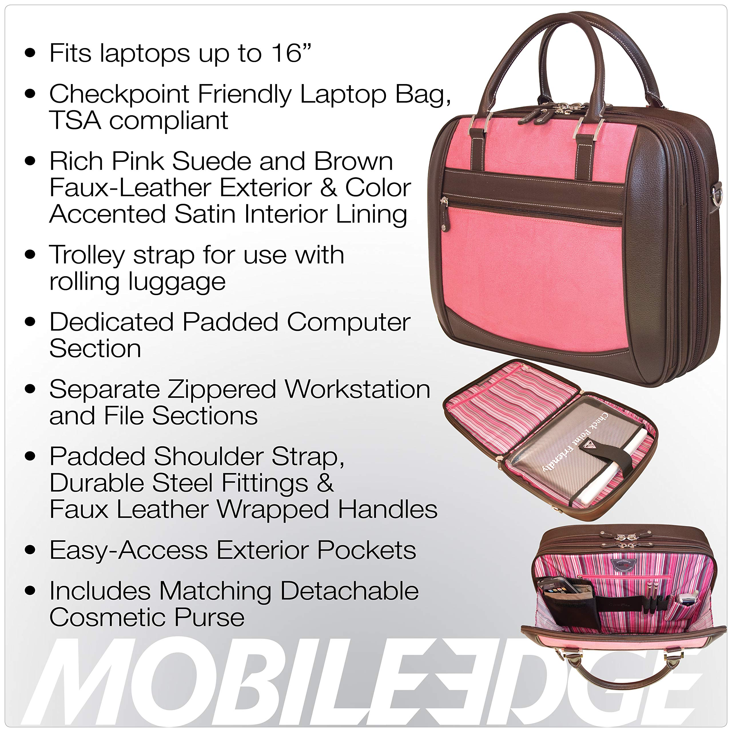 Mobile Edge Women's Black w/Pink, Checkpoint Friendly Element Laptop Briefcase 16 Inch PC, 17 Inch MacBook, Business, Travel MESFEBX by Mobile Edge (Image #7)