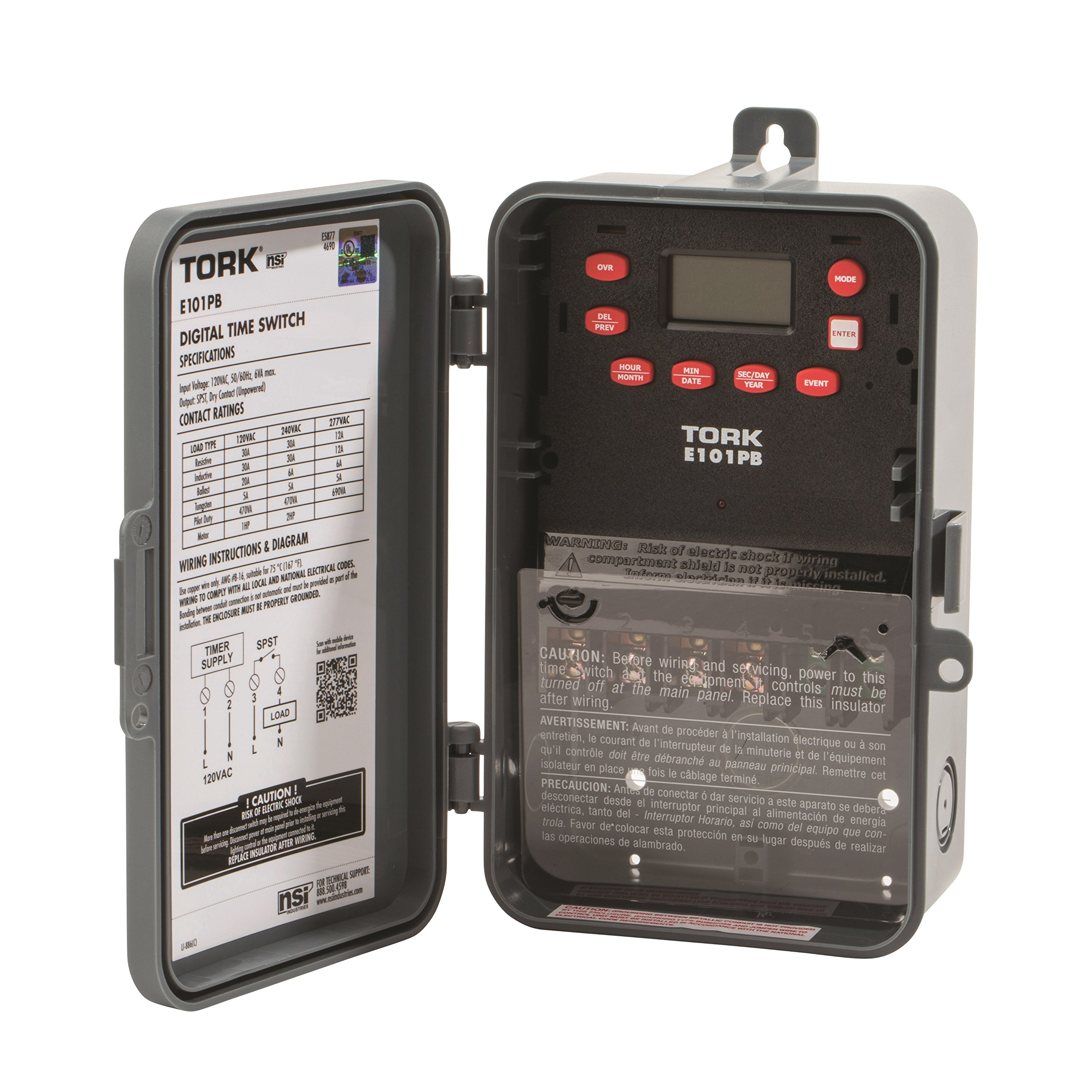 Multipurpose Control 24 Hour Time Switch, 120 VAC Input Supply, 1 Channel, SPST Output Dry Contact