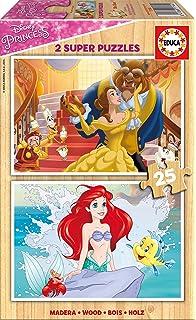 Disney Princesas Puzzle de Madera, 2 x 25 Piezas (Educa Borrás 17164)