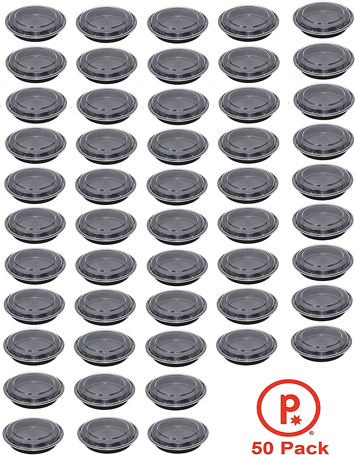 Meal Prep Plastic Microwavable Food containers with Lids Size 24 oz Black Bowls with Clear Lids BPA Free Food Grade Premium Quality Freezer and Dishwasher Safe Reusable Storage Containers (50)