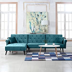 Divano Roma Furniture Mid-Century Modern Style Velvet Sleeper Futon Sofa, Living Room L Shape Sectional Couch with Reclining Backrest and Chaise Lounge (Teal)