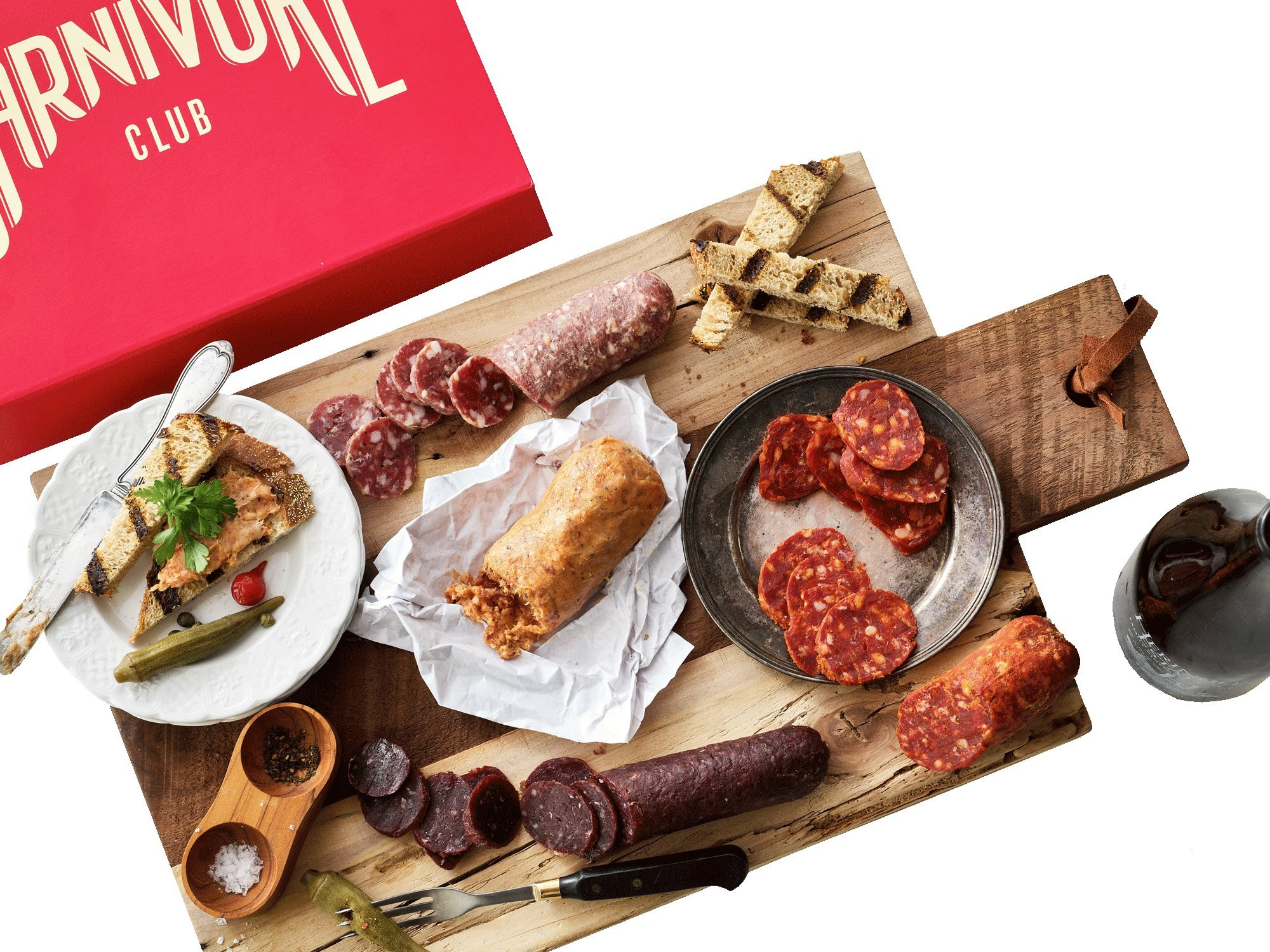 Carnivore Club Gift Box (Gourmet Food Gift) - Food Basket - Comes in a Premium Gift Box - 5 Italian Meats Sampler From Nduja Artisans - Great with Crackers & Cheese & Wine