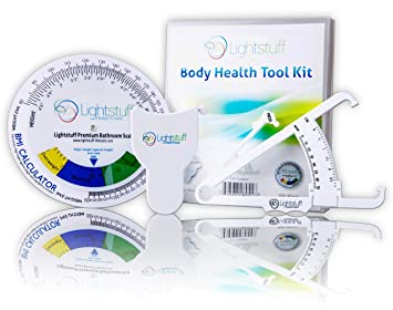 Lightstuff Body Health Tool Kit Skinfold Fat Caliper Body Tape Measure Bmi Calculator Instructions
