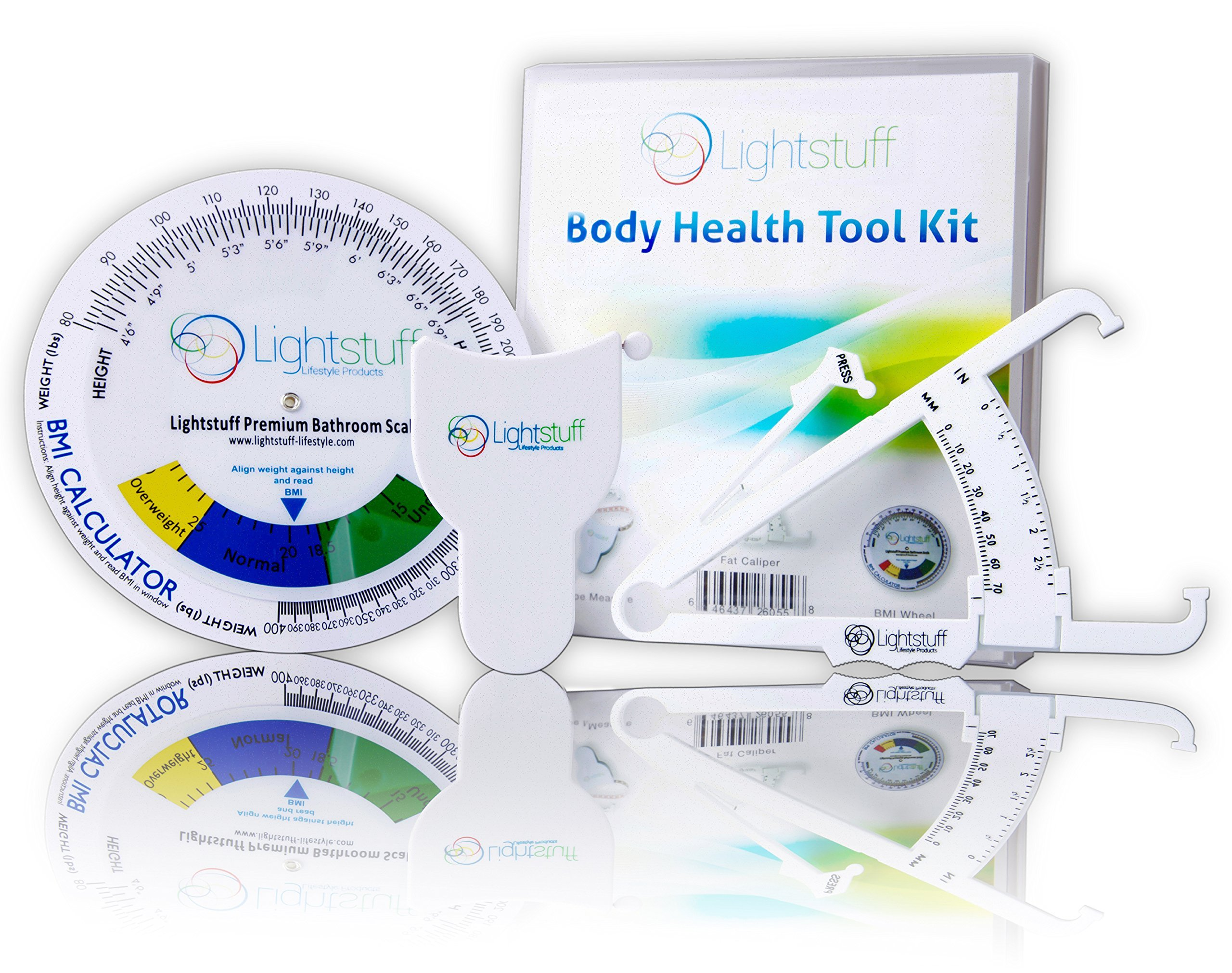 Body Fat Caliper, Body Tape Measure, BMI Calculator - Instructions For Skinfold Caliper and Body Fat Charts Included: Lightstuff Body Health Kit 2018 Version