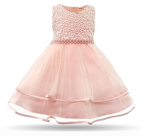 CIELARKO Baby Mädchen Kleid Blumen Spitze Tüll Taufkleid Kinder Hochzeits Festlich Kleider