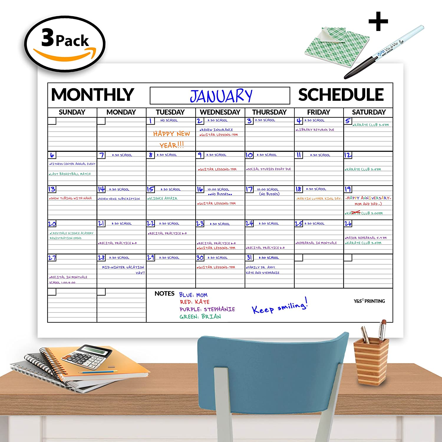 Large Dry Erase Poster Board Laminated Classroom Monthly Wall Calendar, 36-in by 48-in Y&S Printing