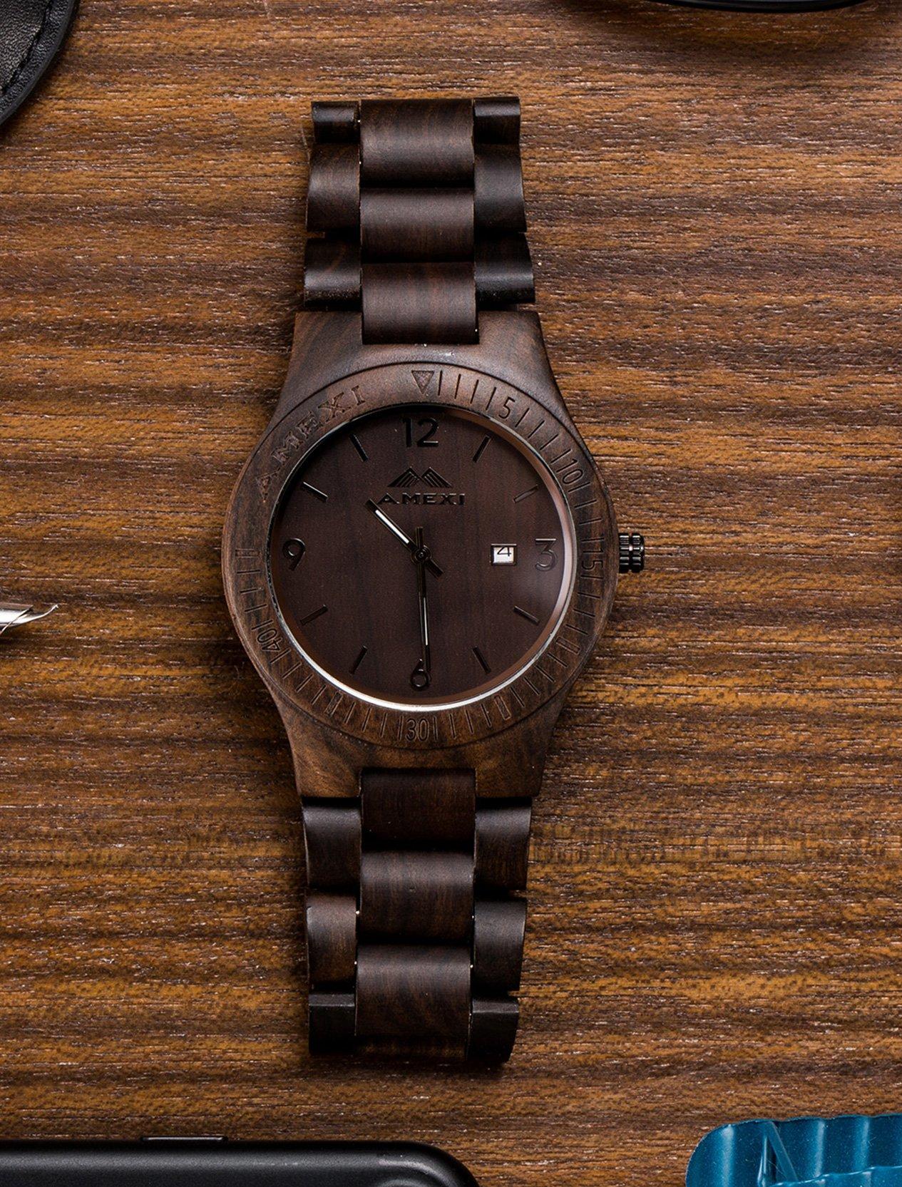 Amexi Holzuhr Herren Uhren aus Holz Ebenholz Holz Uhren Armbanduhr Herren Männer mit Miyota Quarz Uhrwerk (Schwarz)