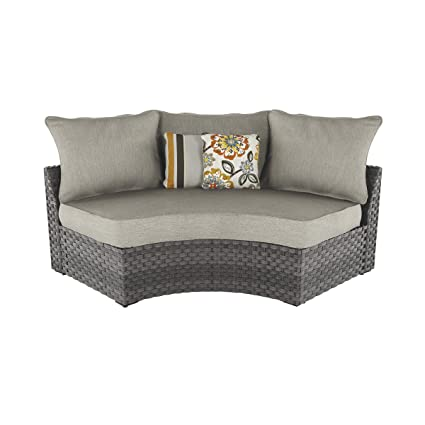Ashley Furniture Signature Design   Spring Dew Outdoor Curved Corner Chair  With Cushion   Gray