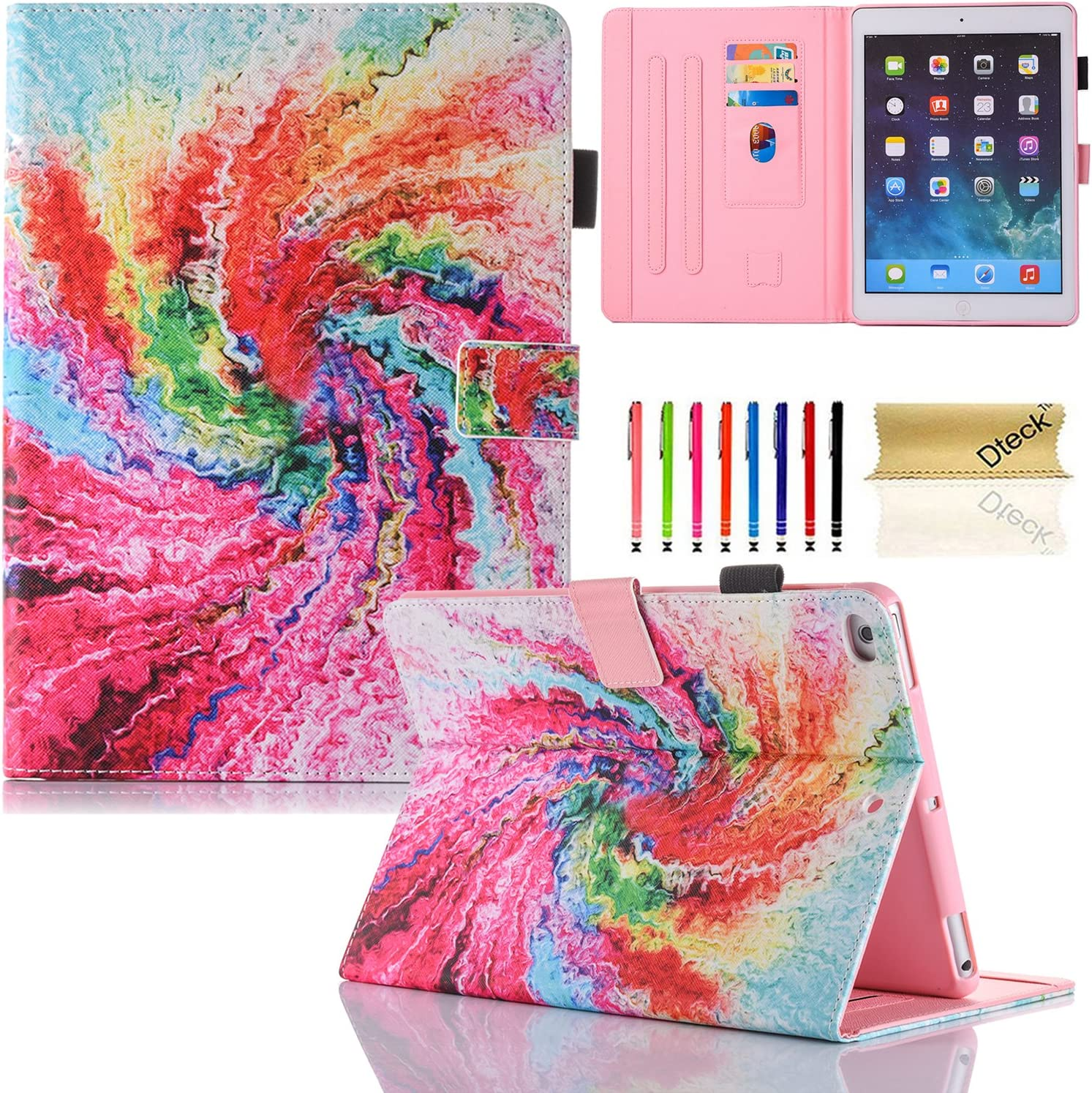 Dteck iPad Mini 1 2 3 4 Case - Slim Fit PU Leather Flip Stand Cover with Auto Sleep Wake Feature Smart Case for Apple iPad Mini 1/2/3/4 Generation, Rainbow Cake