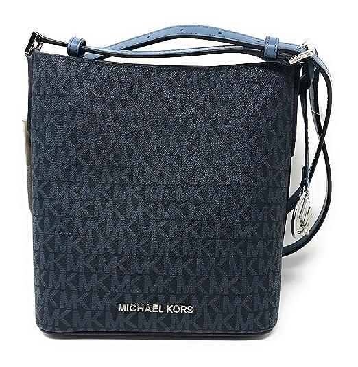 9a9058f71b6a Michael Kors Kimberly Signature PVC Small Bucket Crossbody Bag in  Admirl Denim  Amazon.co.uk  Clothing