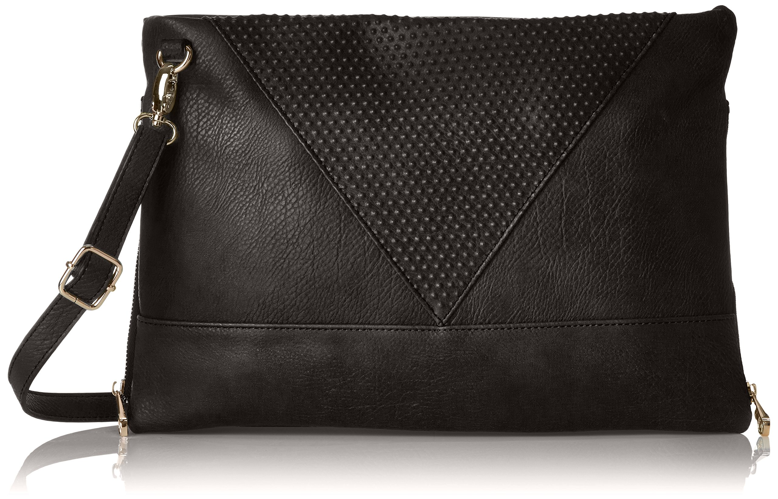 POVERTY FLATS by rian Raised Dot V Cross Body Bag, Black, One Size