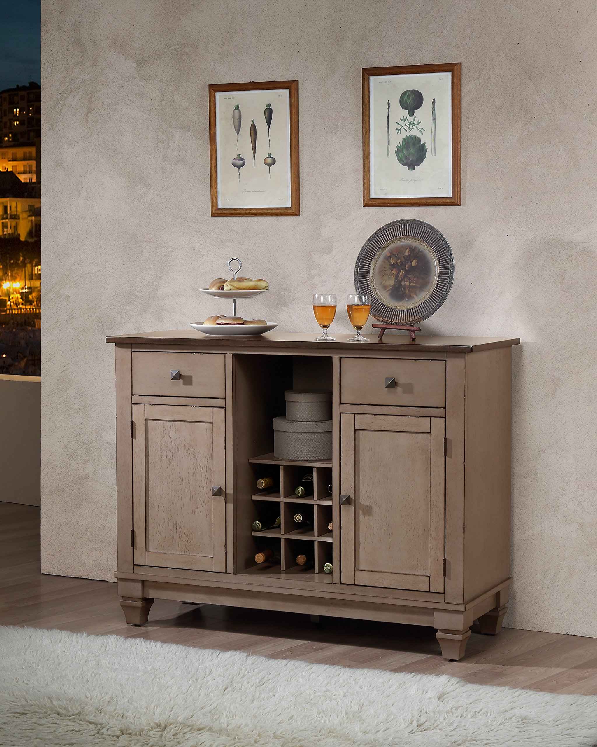 Kings Brand Almon 2-Tone Brown Wood Wine Rack Sideboard Buffet Server Storage Cabinet with Drawers, Shelf and Doors