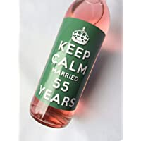 Keep Calm 55th Emerald Wedding Anniversary Wine bottle label Celebration Gift for Women and Men.