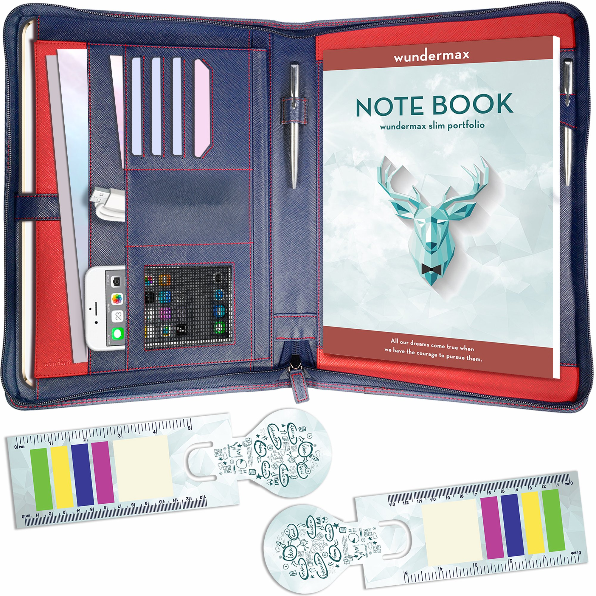 Wundermax Portfolio Padfolio/Leather Portfolio Zippered Closure - Bonus Bookmarks & Writing Pad - Tablet Sleeve - Professional Business Gift (Blue)