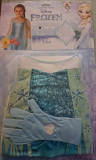 Disney FROZEN Elsa-Kostüm Kleid mit Glitzer-Umhang plus 2 Handschuhe ...