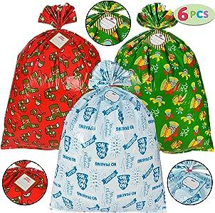 Amazon.com: 6 bolsas de regalo gigantes de Navidad, tamaño ...